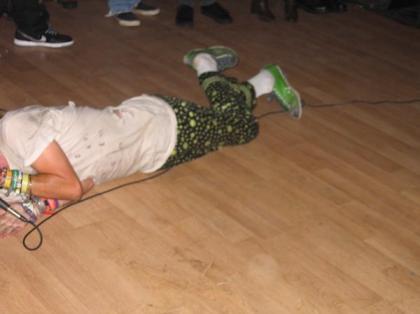 lying screaming on the floor again headless