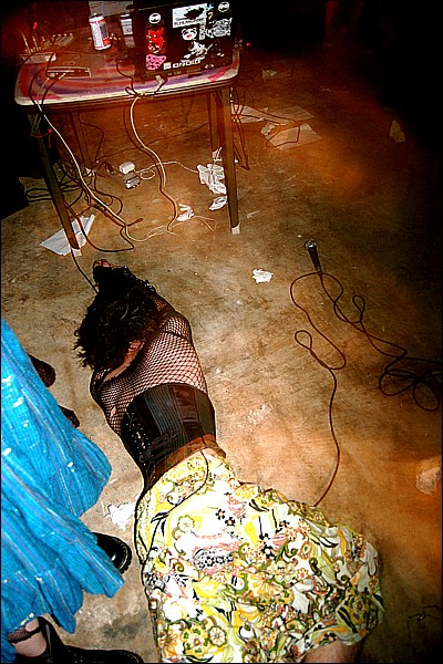 corset goth floored wasted sundress flowers lying on the ground