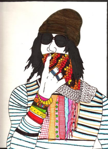 colorful striped shirt neckerchiefs scarfs beanie sunglasses