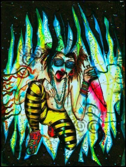 striped black yellow tights bloody knife jungle framing lotsa crazy