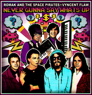 romak & the space pirates vyncent flaw 8-bit dot matrix colorful keyboards space invader