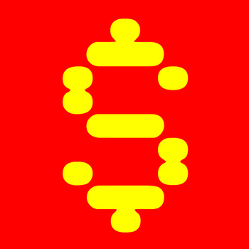 red yellow pixel dollar sign