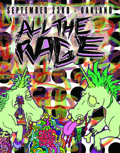 crazed toxic green unicorns eye falling out vomiting guts