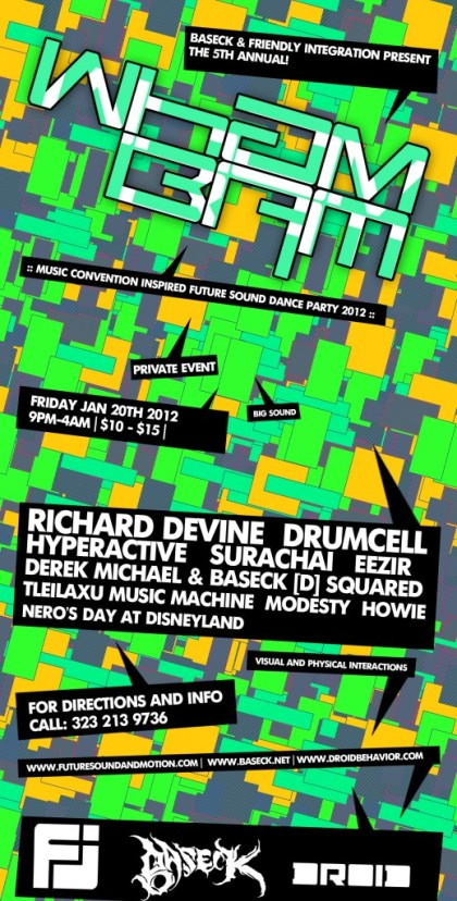 colorful squares and rectangles techno flyer